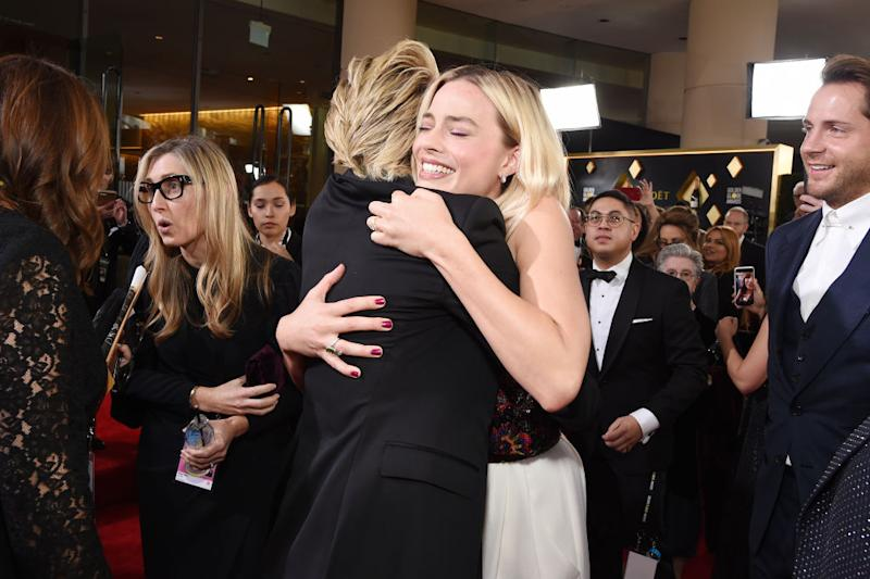BEVERLY HILLS, CALIFORNIA - JANUARY 05: Portia de Rossi and Margot Robbie attend the 77th Annual Golden Globe Awards at The Beverly Hilton Hotel on January 05, 2020 in Beverly Hills, California. (Photo by Michael Kovac/Getty Images for Moët and Chandon )