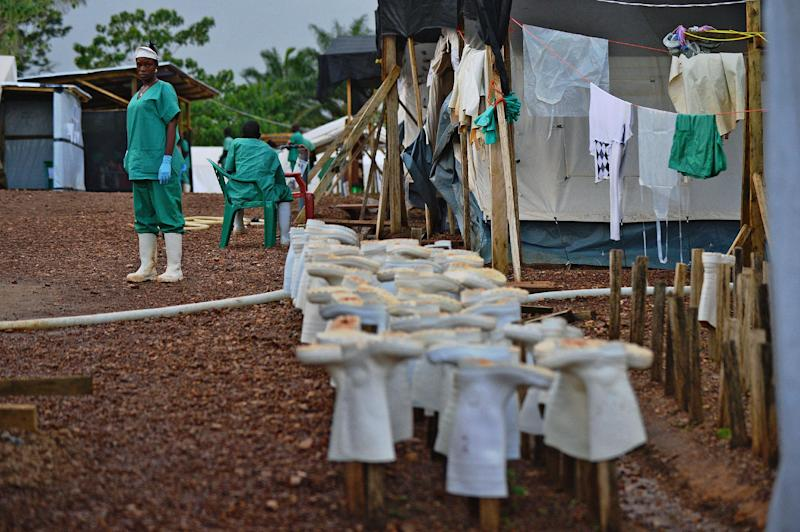Medical workers and protective gear at an Ebola treatment facility in Kailahun, Sierra Leone, on August 14, 2014