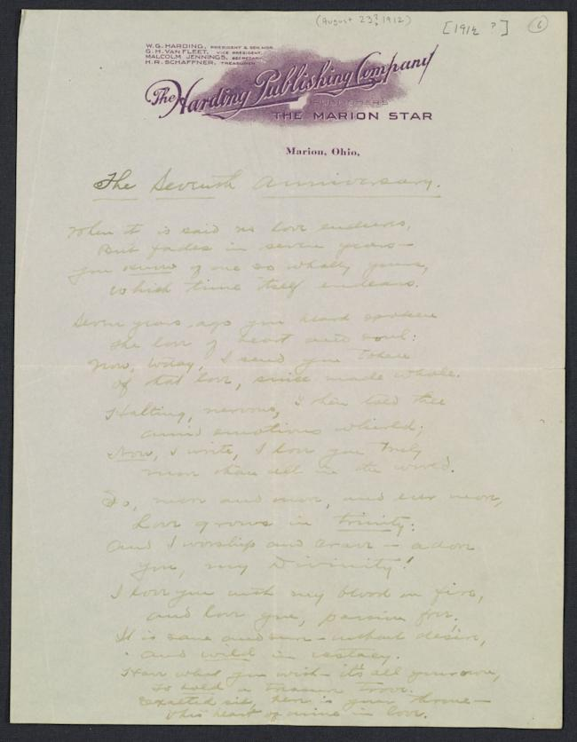 Warren G. Harding love letter