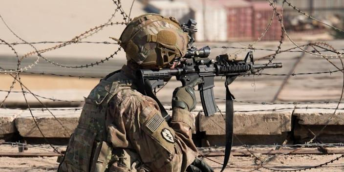 A U.S. Army Soldier maintains overwatch at the U.S. Embassy Compound in Baghdad, Iraq, Jan. 1, 2020.
