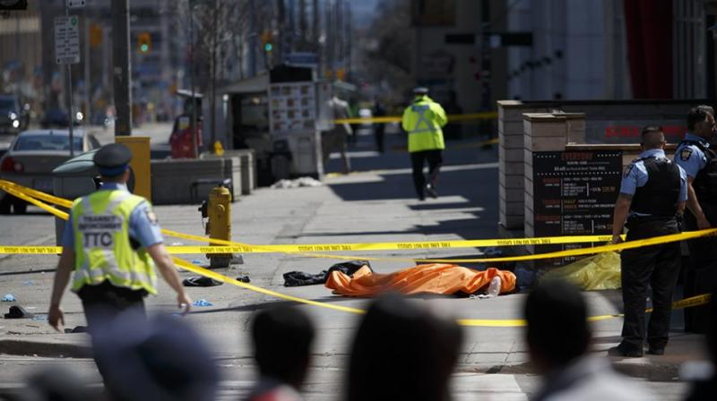 At least nine people were killed when a van ploughed over the Toronto footpath. Source: Getty