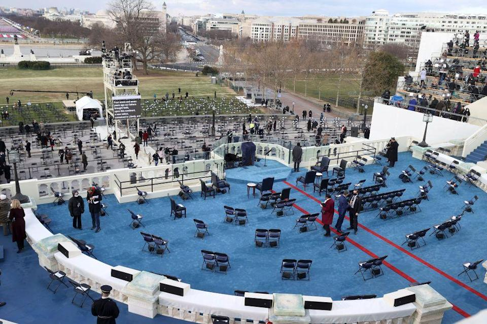<p>On Wednesday morning, the west front of the Capitol is all set up for the ceremony.</p>
