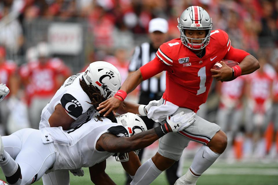 Strike the Heisman pose? Justin Fields is a contender -- and maybe the favorite -- for college football's top individual honor. But can he and Ohio State avoid an upset in the regular season? It may not matter, either way. The Buckeyes seem destined for the College Football Playoff.