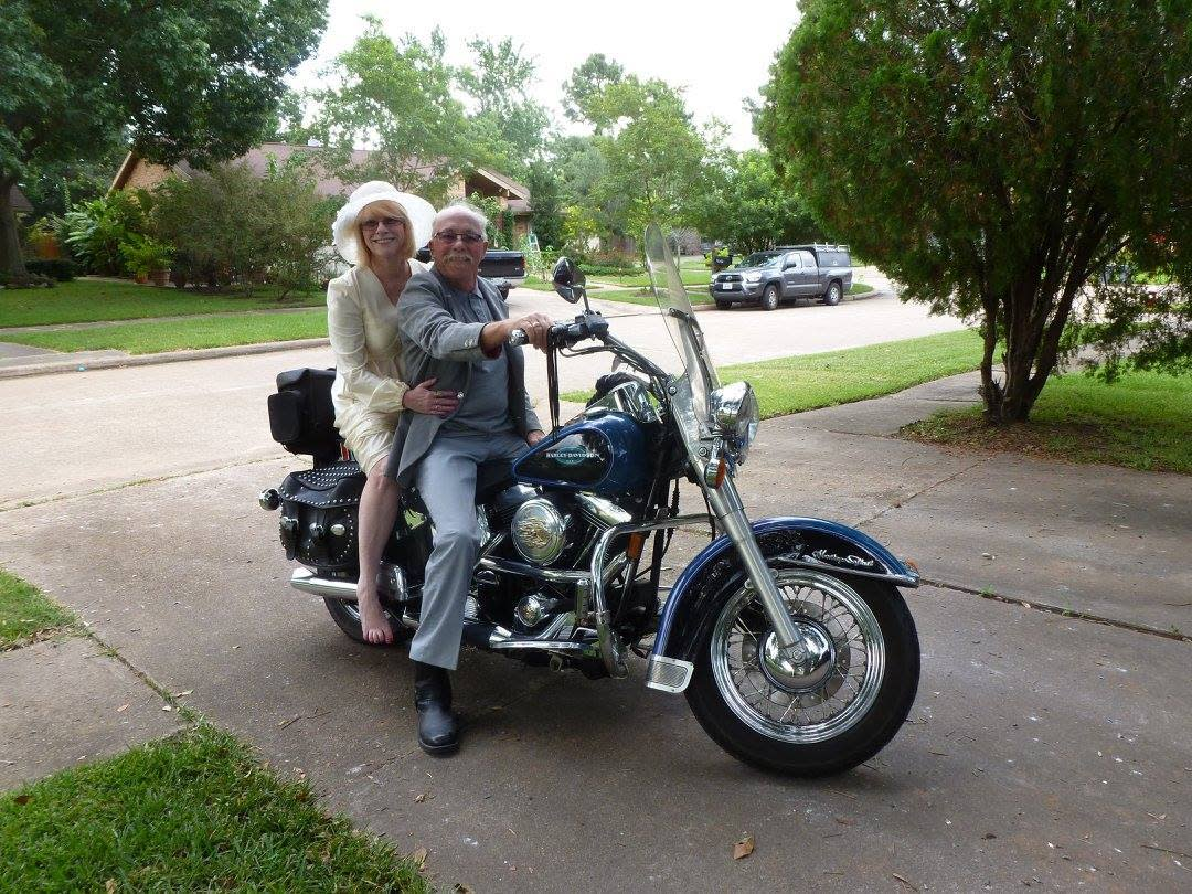 "<p>Here, the couple still rocks their wedding day wardrobe with an upgraded motorcycle. The location has also moved to their home where they've lived for the past 30 years. (Source: <a href=""https://www.reddit.com/r/pics/comments/3d0o91/my_parents_celebrate_their_40th_anniversary_today/"">Reddit</a>)</p>"