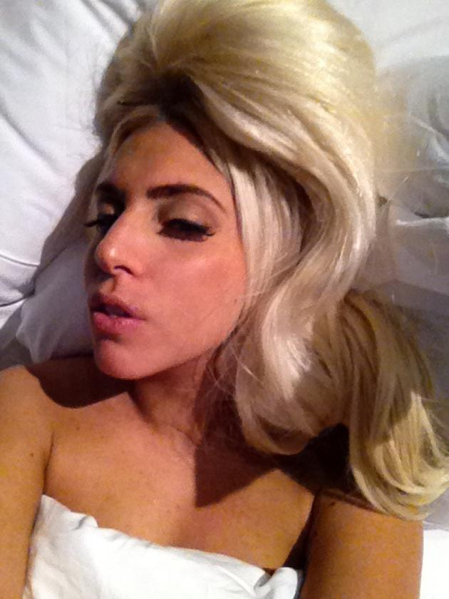 Celebrity photos: Lady Gaga treated her Twitter followers to this photo of herself before bed, wishing everyone a good night. We wish we looked so glam before we fell asleep.