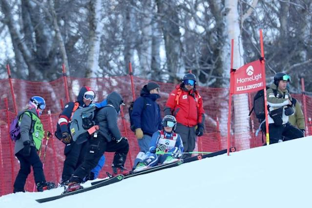 New Zealand's Alice Robinson reacts after crashing in the first run of the women's alpine World Cup giant slalom at Killington, Vermont (AFP Photo/TOM PENNINGTON)