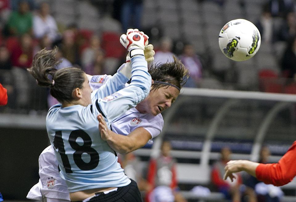 Abby Wambach #20 of the United States collides with goalie Erika Miranda #18 of Costa Rica while battling for the loose ball during the first half of semifinals action of the 2012 CONCACAF Women's Olympic Qualifying Tournament at BC Place on January 27, 2012 in Vancouver, British Columbia, Canada. (Photo by Rich Lam/Getty Images)