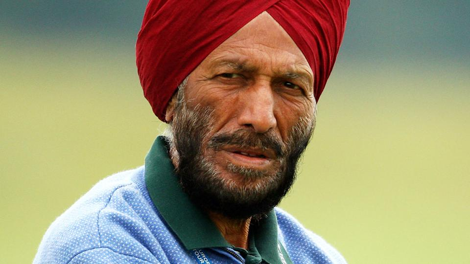 Milkha Singh, pictured here watching son Jeev Milkha Singh at the Celtic Manor Wales Open in 2010.