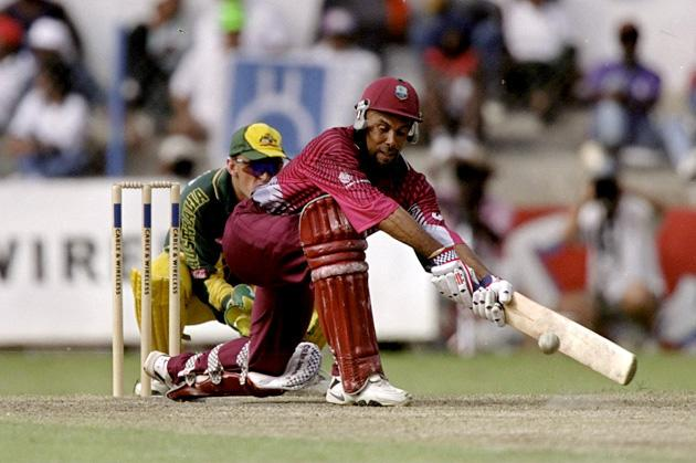18 Apr 1999:  Jimmy Adams of the West Indies reverse sweeps the ball during the One Day International match against Australia played in Barbados.  Mandatory Credit: Ben Radford /Allsport