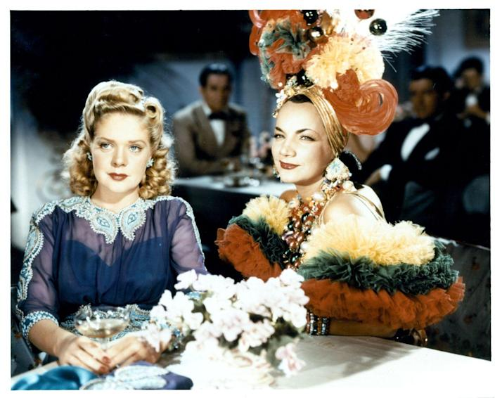 <p>Carmen Miranda's wardrobe was iconic on its own, but something that really sticks out in her <em>Week-End in Havana </em>ensemble is her chest of layered necklaces. The colorful, beaded pieces were just one component to the singer's sensational look. </p>