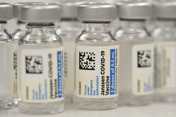 FILE - This Saturday, March 6, 2021 file photo shows vials of Johnson & Johnson COVID-19 vaccine at a pharmacy in Denver. On Thursday, June 10, 2021, Johnson & Johnson said that the U.S. Food and Drug Administration extended the expiration date on millions of doses of its COVID-19 vaccine by an extra six weeks. (AP Photo/David Zalubowski, File)