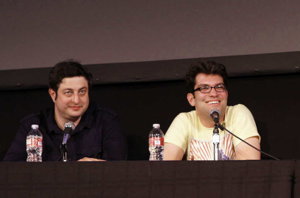 "Cast members Eugene Mirman and Dan Mintz on stage during ""Bob's Burgers Live!"" at the WIlshire Ebell Theatre on Tuesday, May 7 in Los Angeles, CA."