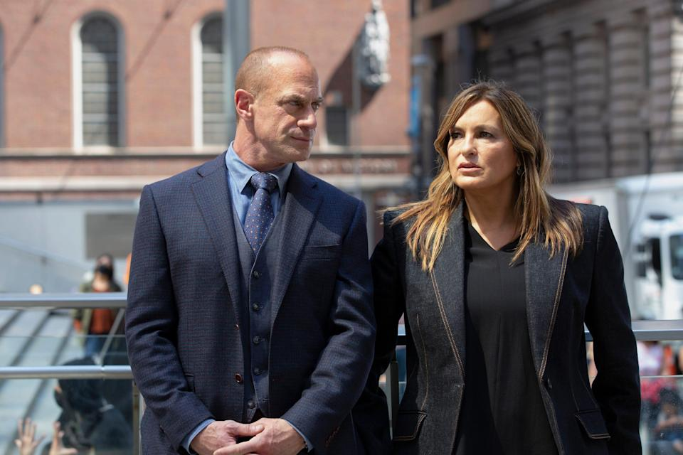 """After years apart, Elliot Stabler (Christopher Meloni), left, and Olivia Benson (Mariska Hargitay), who formed one of TV's all-time cop partnerships, crossed paths again in NBC's """"Law & Order: Special Victims Unit"""" and """"Law & Order: Organized Crime."""""""