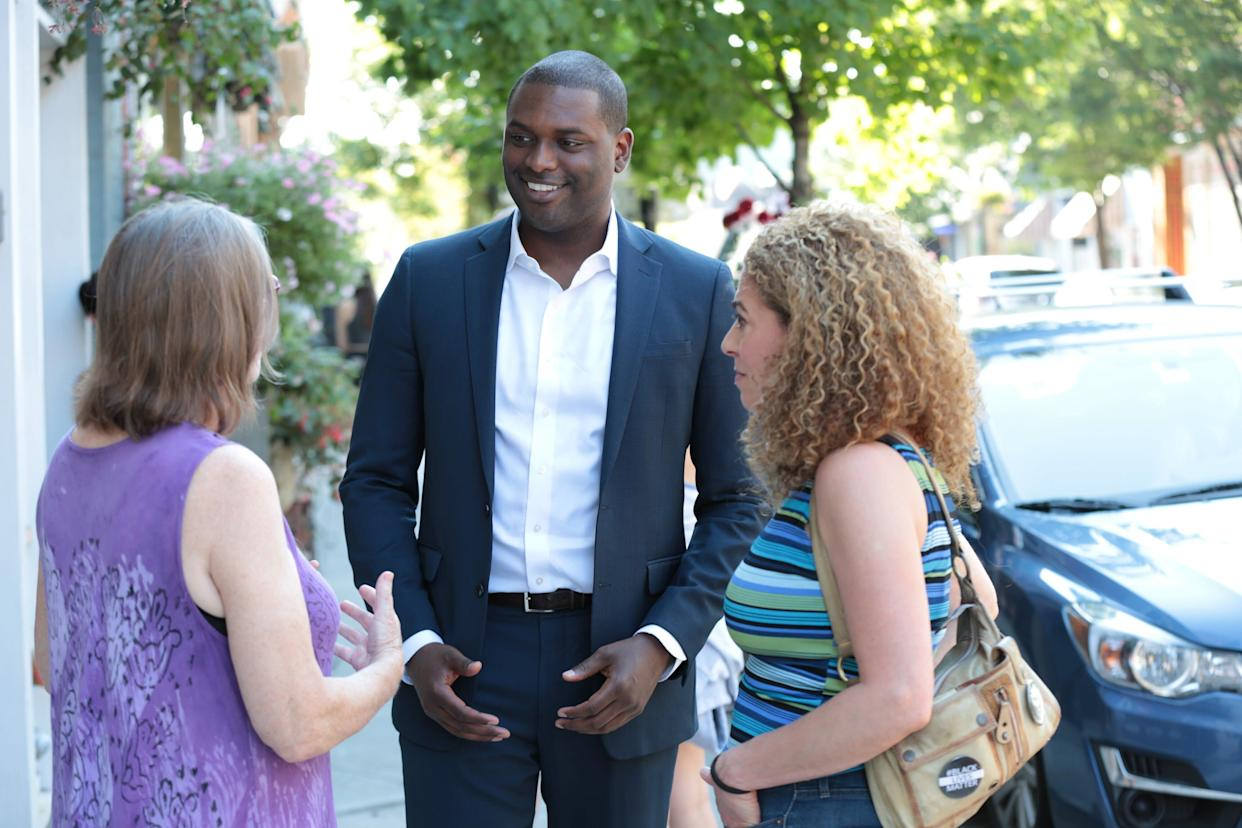 Mondaire Jones, an attorney seeking the Democratic nomination in New York's 17th Congressional District, greets voters on the campaign trail. (Photo: Mondaire Jones Campaign)