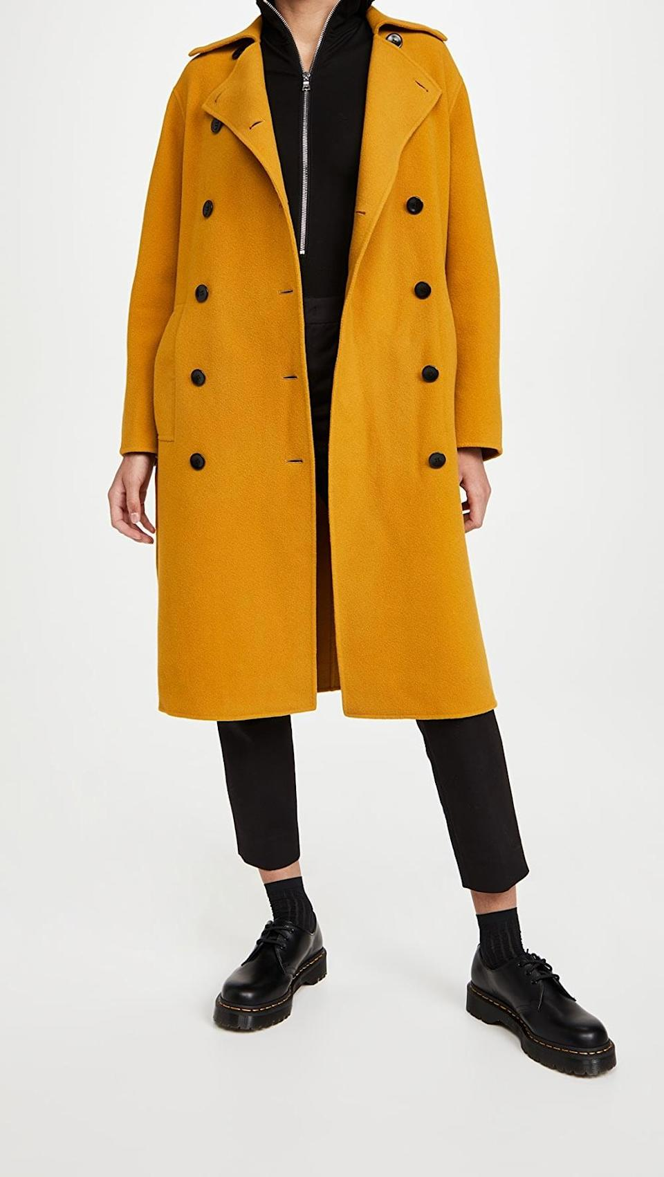 <p>This <span>Proenza Schouler White Label Doubleface Double Breasted Long Coat</span> ($975) is undeniably cool. Throw it over any ensemble and you'll look effortlessly stylish.</p>