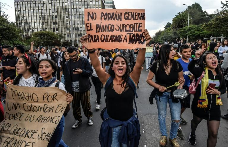 Most protests, like this one in Bogota on November 23, 2019, were peaceful