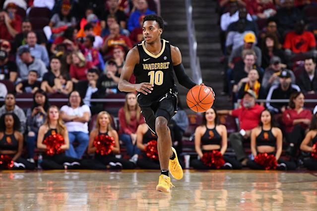 Darius Garland averaged 19.8 points in his four full games at Vanderbilt. (Photo by Brian Rothmuller/Icon Sportswire via Getty Images)