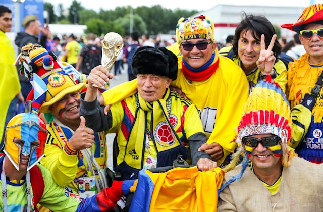 <p>Supporters of Team Colombia seen outside Spartak Stadium ahead of the 2018 FIFA World Cup Round of 16 match between Colombia and England. Anton Novoderezhkin/TASS (Photo by Anton Novoderezhkin\TASS via Getty Images) </p>