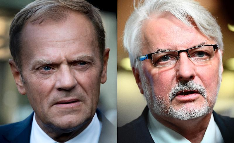 Poland's Foreign Minister Witold Waszczykowski (R) led a campaign against Donald Tusk (L), arguing he should not be elected European Council president against the wishes of his home country