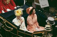 <p>Two of the most stylish royals, Princess Anne and Princess Margaret, arrived first and did not disappoint. Those colors! Those coordinating fascinators! Just wow.</p>