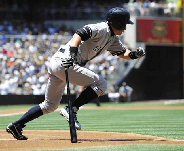 SAN DIEGO, CA - AUGUST 4: Ichiro Suzuki #31 of the New York Yankees grounds out during the first inning of a baseball game against the San Diego Padres at Petco Park on August 4, 2013 in San Diego, California. (Photo by Denis Poroy/Getty Images)