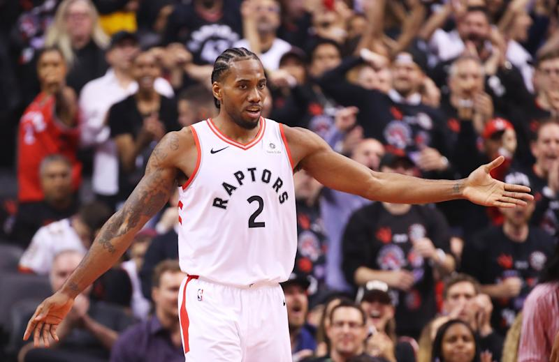 TORONTO, ONTARIO - MAY 30: Kawhi Leonard #2 of the Toronto Raptors reacts against the Golden State Warriors in the second quarter during Game One of the 2019 NBA Finals at Scotiabank Arena on May 30, 2019 in Toronto, Canada. NOTE TO USER: User expressly acknowledges and agrees that, by downloading and or using this photograph, User is consenting to the terms and conditions of the Getty Images License Agreement. (Photo by Gregory Shamus/Getty Images)