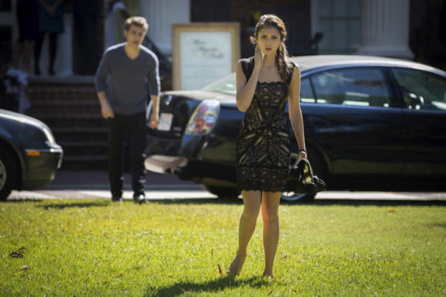 "Paul Wesley as Stefan and Nina Dobrev as Elena in ""My Brother's Keeper,"" the seventh episode of ""The Vampire Diaries"" Season 4."