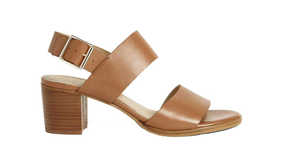 Jessica Leather Stacked Heel Sandals