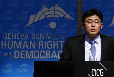 Former North Korean prison guard Ahn Myong Chul addresses the sixth Geneva Summit for Human Rights and Democracy in this file picture taken in Geneva February 25, 2014. REUTERS/Denis Balibouse/Files