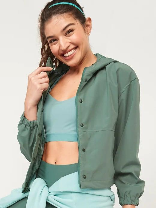 <p>Save on a pretty green <span>Old Navy Water-Resistant Hooded Cropped Utility Jacket</span> ($38, originally $55) for rainy fall hikes straight through spring.</p>