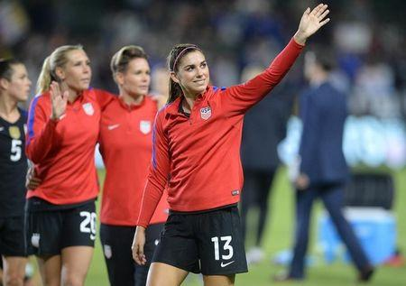 FILE PHOTO: November 13, 2016; Carson, CA, USA;  USA forward Alex Morgan (13) reacts following the 5-0 victory against Romania at StubHub Center. Mandatory Credit: Gary A. Vasquez-USA TODAY Sports/Files