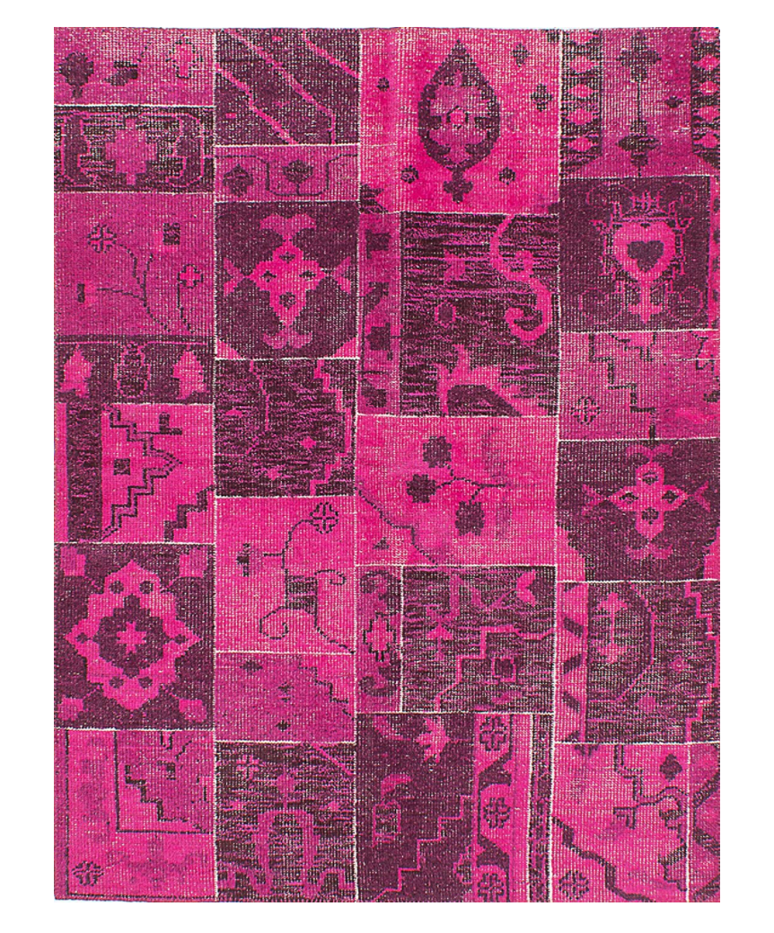 eCarpet Gallery Hand-Knotted Herbal Vintage Patchwork Wool Area Rug in Pink (Photo via Amazon)