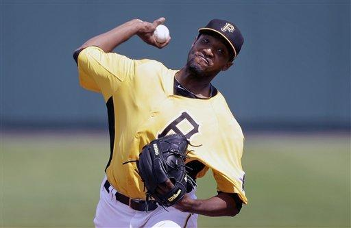 Pittsburgh Pirates starting pitcher James McDonald throws a pitch during the first inning of a baseball spring training exhibition game against the Atlanta Braves, Sunday, Feb. 24, 2013, in Bradenton, Fla. (AP Photo/Charlie Neibergall)