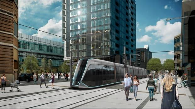 Mayor Régis Labeaume says many elements already included in Quebec City's tramway project won't need to be revised, including plans for de la Couronne street, pictured here. (Ville de Québec - image credit)