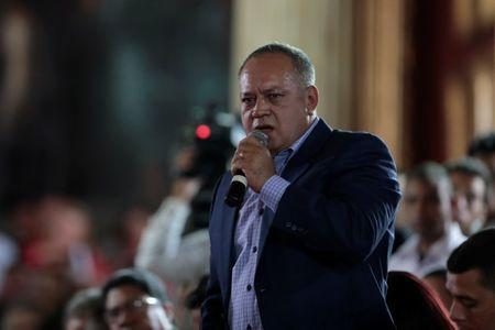 Diosdado Cabello speaks during a session of the assembly at Palacio Federal Legislativo in Caracas, Venezuela August 5, 2017. REUTERS/Marco Bello