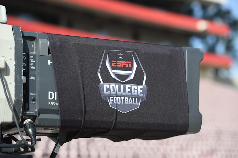 PASADENA, CA - JANUARY 01: ESPN tv camera before the College Football Playoff Semifinal at the Rose Bowl Game between the Georgia Bulldogs and Oklahoma Sooners on January 1, 2018, at the Rose Bowl in Pasadena, CA. (Photo by Chris Williams/Icon Sportswire via Getty Images)