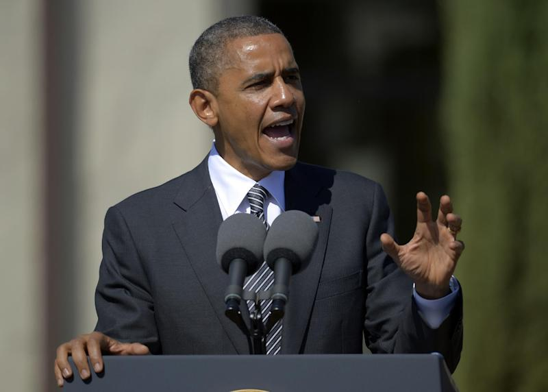 President Barack Obama speaks at the Cesar E. Chavez National Monument, Monday, Oct. 8, 2012, in Keene, Calif. (AP Photo/Mark J. Terrill)