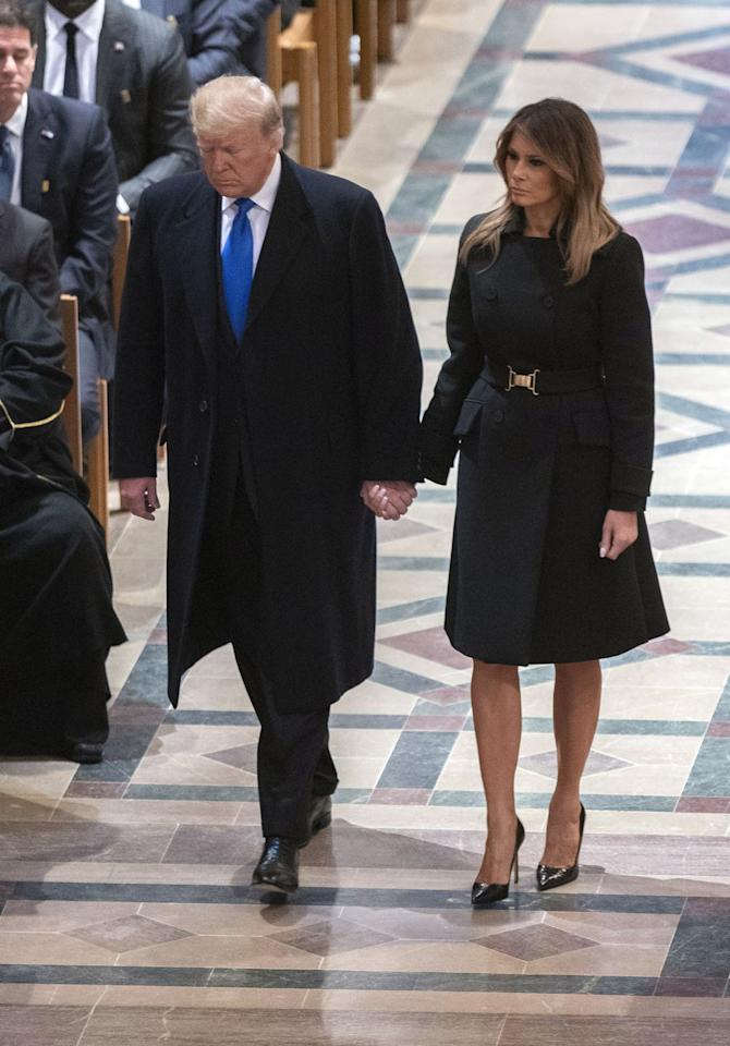 <p>The First Lady attended George H.W. Bush's funeral in Washington, D.C. wearing a black ensemble by Proenza Schouler. </p>