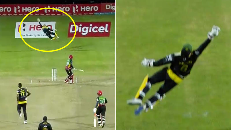 Glenn Phillips took an extraordinary catch in the Caribbean Premier League. (Image: Fox Sports)