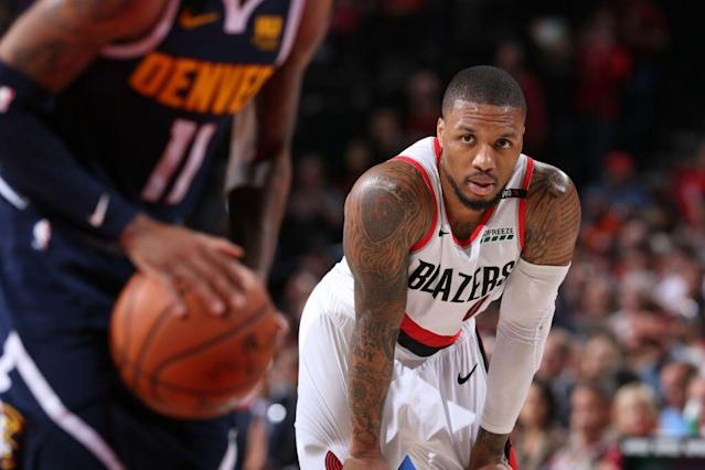 "<a class=""link rapid-noclick-resp"" href=""/nba/players/5012/"" data-ylk=""slk:Damian Lillard"">Damian Lillard</a> is staring at his first career conference finals appearance. (Getty Images)"