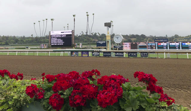 Flowers frame a new infield video board and the finish line ahead of opening day of the fall meeting at Santa Anita Park in Arcadia, Calif., Friday, Sept. 27, 2019. Horse racing has returned to Santa Anita with the opening of its fall meet amid intense scrutiny after the deaths of 31 horses at the historic track earlier in the year. There were no incidents during morning training hours or through the first three races Friday. The nine-race card includes three graded stakes races, with two of those winners earning automatic berths in the Breeders' Cup this fall at Santa Anita. (AP Photo/Beth Harris)