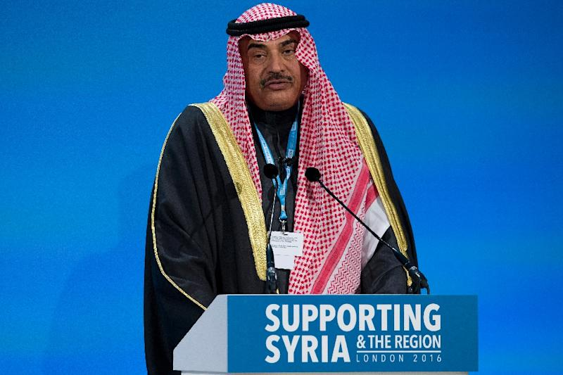 Kuwaiti Foreign Minister Sabah al-Khalid al-Sabah addresses a press conference at the QEII centre in London at a donors' conference entitled 'Supporting Syria & The Region' (AFP Photo/Justin Tallis)