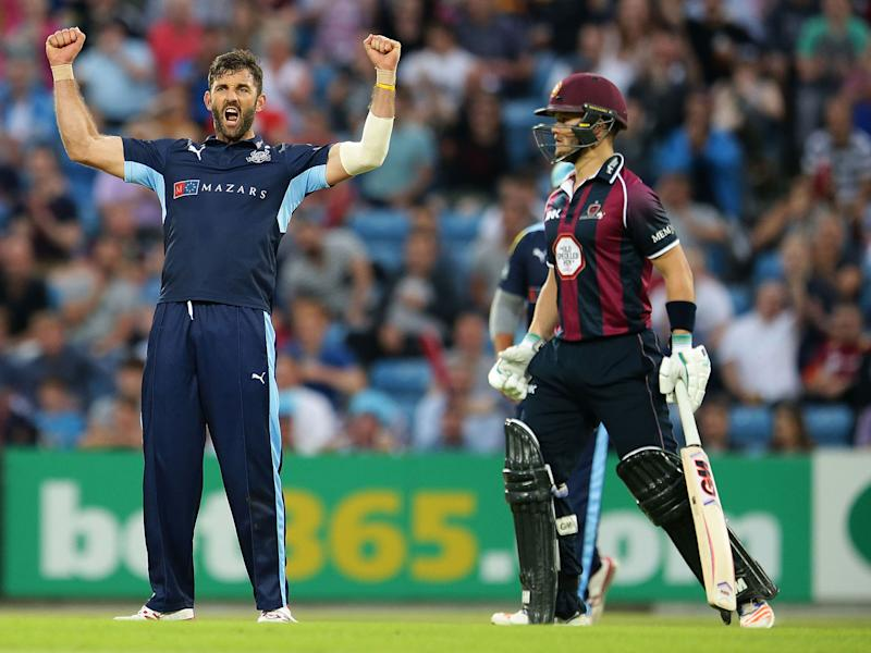 Liam Plunkett celebrates the dismissal of Adam Rossington during the NatWest T20 Blast match between Yorkshire Vikings and Nothamptonshire Steelbacks last July: Getty