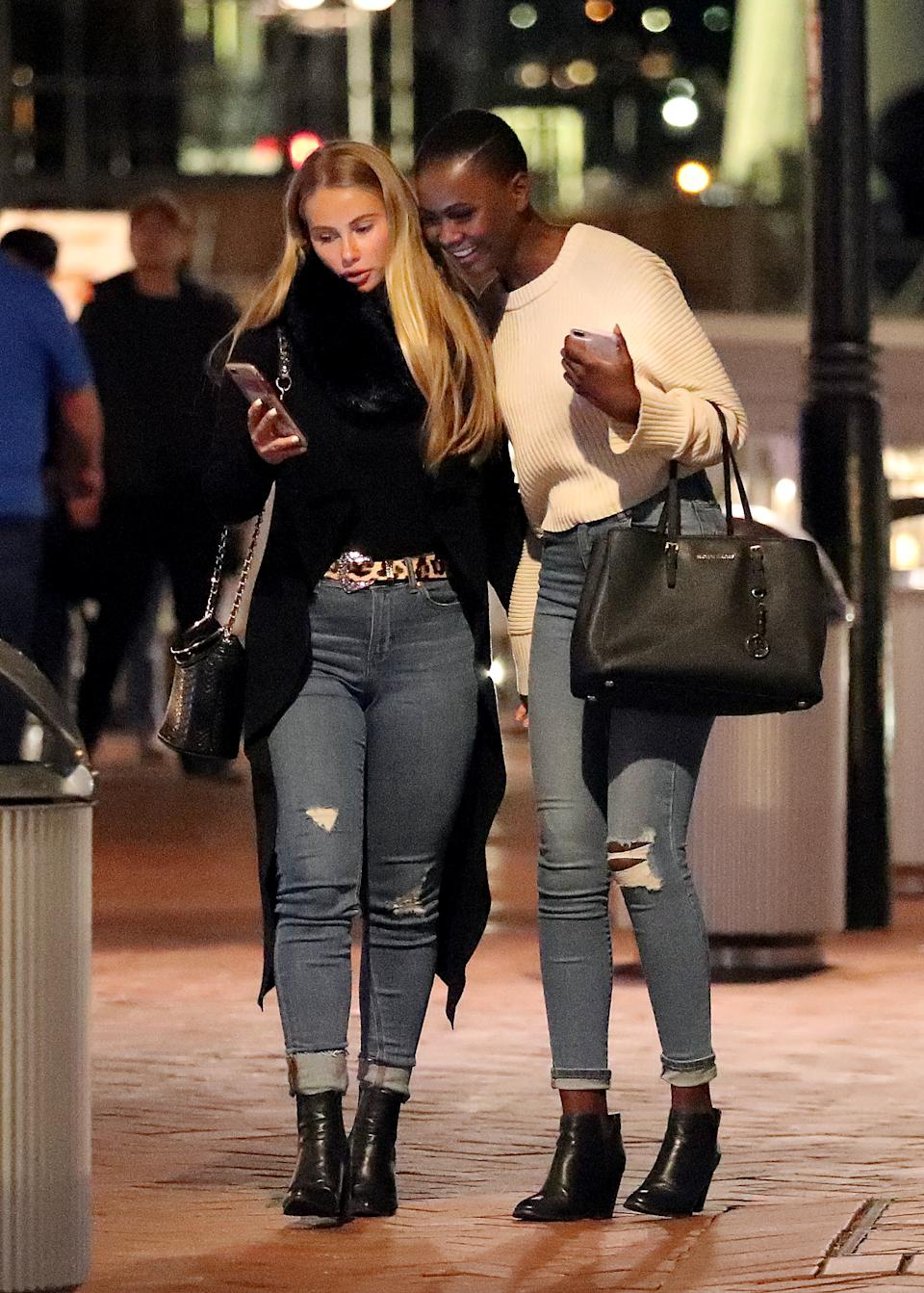 The reality stars were spotted during a night out in Sydney. Photo: Diimex