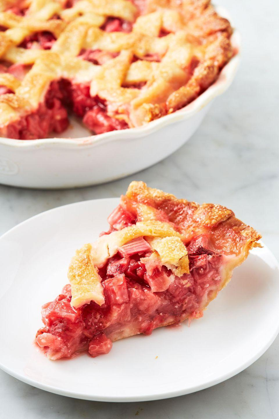 """<p>Strawberry and rhubarb are a perfect pair.</p><p>Get the recipe from <a href=""""https://www.delish.com/cooking/recipe-ideas/recipes/a53154/best-strawberry-rhubarb-pie-recipe/"""" rel=""""nofollow noopener"""" target=""""_blank"""" data-ylk=""""slk:Delish."""" class=""""link rapid-noclick-resp"""">Delish.</a></p>"""