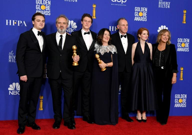 "Dean-Charles Chapman, pictured (left) with cast and crew from ""1917"" at the 2020 Golden Globes, uncovered his great-great-grandfather's journal entry in a book called ""The Western Front Diaries"""