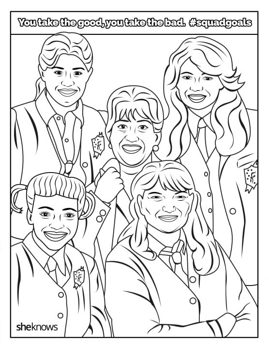Print the whole coloring book and color it in with your squad, of course.