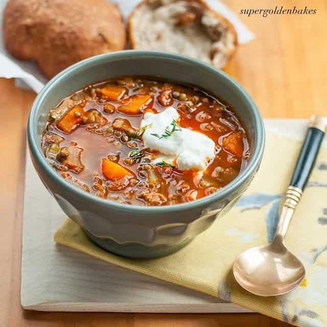 "<p>A <a href=""http://www.supergoldenbakes.com/lentil-soup-with-rosemary-and-walnu/"" target=""_blank"" class=""ga-track"" data-ga-category=""Related"" data-ga-label=""http://www.supergoldenbakes.com/lentil-soup-with-rosemary-and-walnu/"" data-ga-action=""In-Line Links"">lentil soup</a> is chock-full of germ-fighting veggies that your little one will surely need to load up on once they come down with something. Add a little Greek yogurt or sour cream to finish off the dish.</p>"