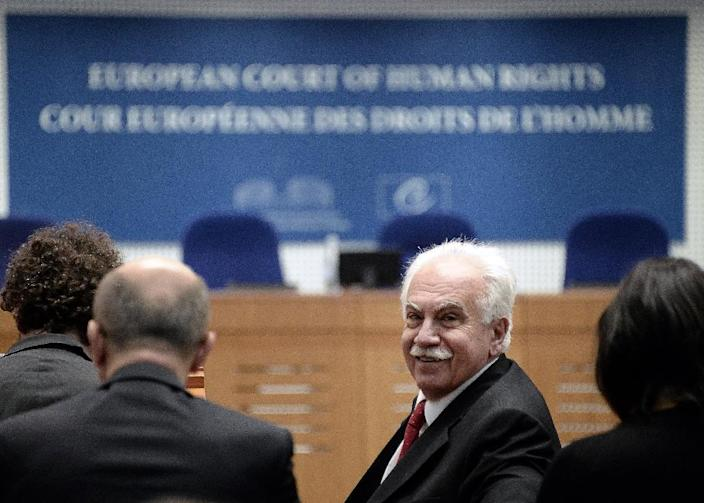 Turkish politician Dogu Perincek at the European Court of Human Rights in Strasbourg on October 15, 2015 (AFP Photo/Frederick Florin)