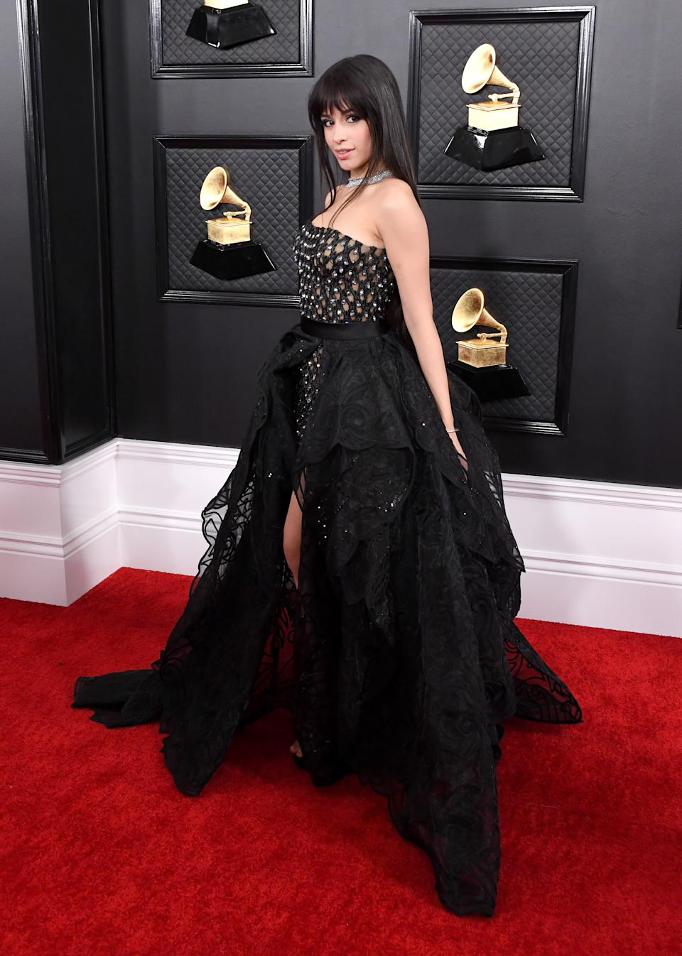 """The """"Señorita"""" singer crossed over to the dark side with a glam-goth princess look by Versace."""